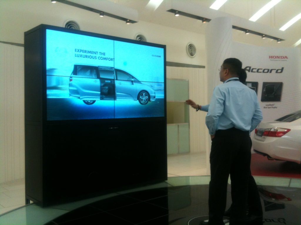 Video Wall with interactive features at Honda showrrom